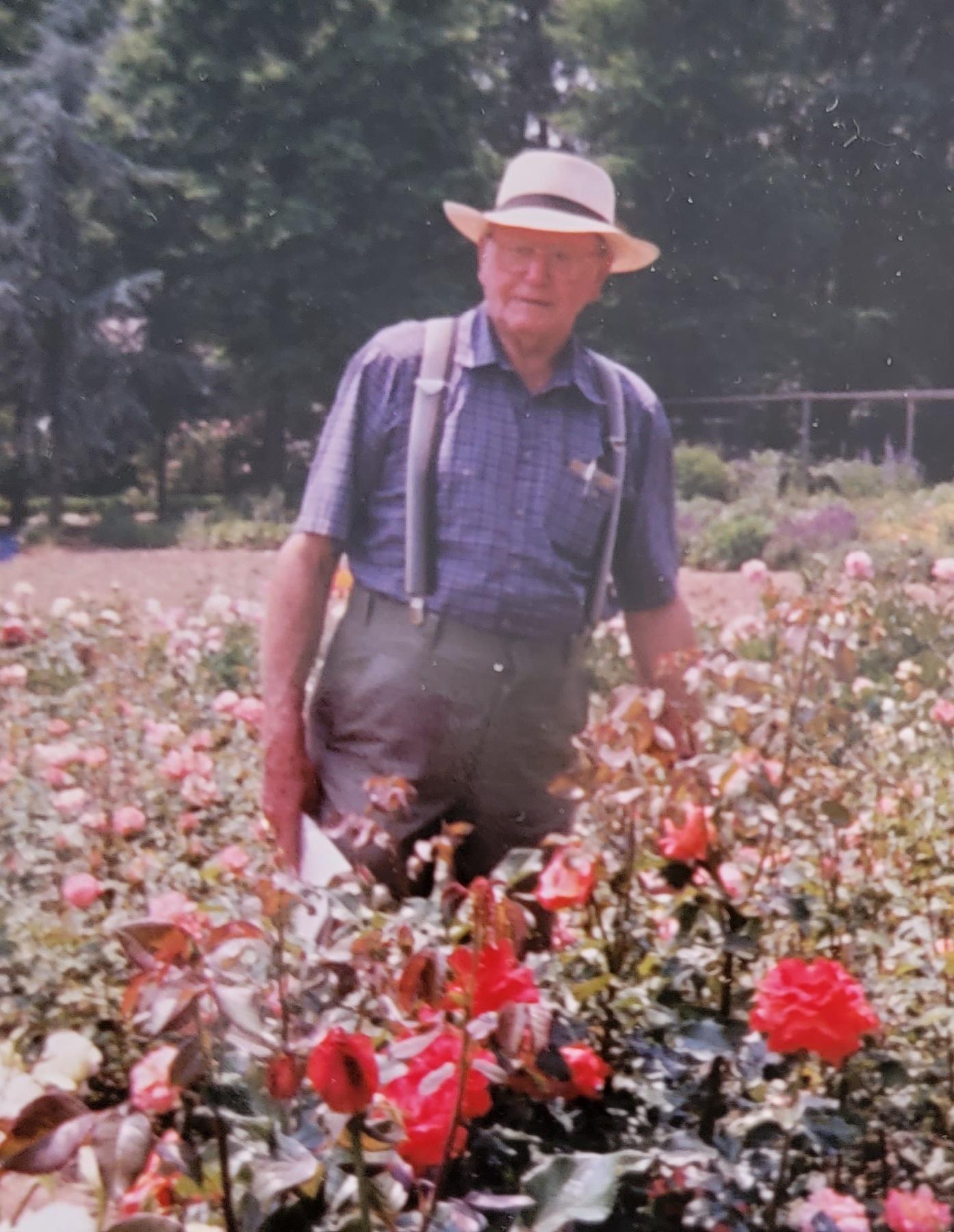 Albert Behnke in his private rose garden